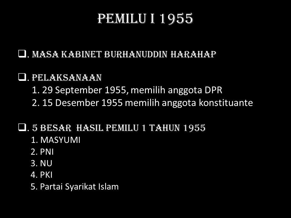 Pemilu I 1955 . Masa Kabinet Burhanuddin Harahap . Pelaksanaan