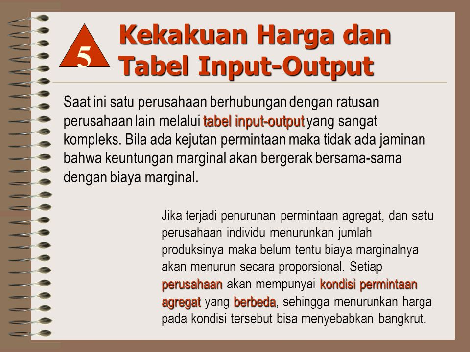 Kekakuan Harga dan Tabel Input-Output