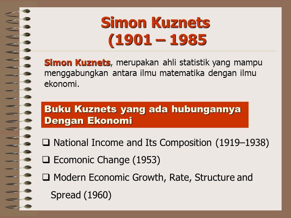 Simon Kuznets (1901 – 1985 Buku Kuznets yang ada hubungannya
