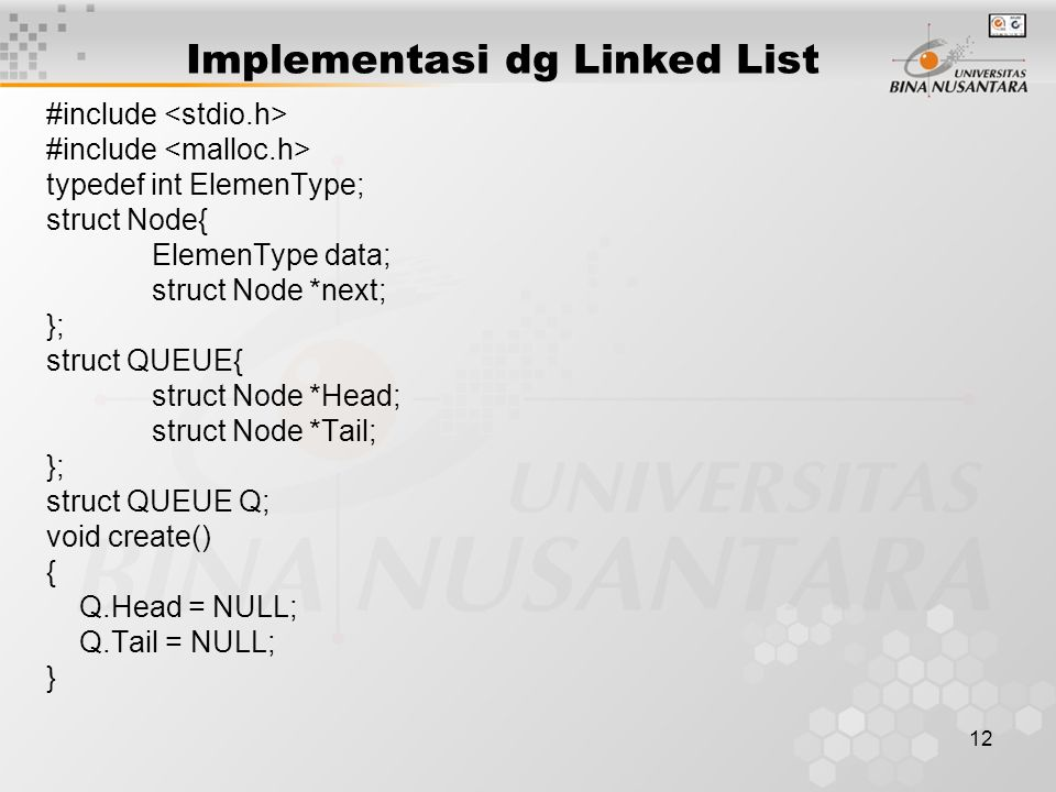 Implementasi dg Linked List