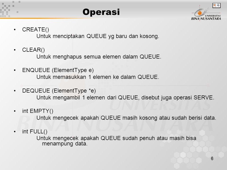 Operasi CREATE() Untuk menciptakan QUEUE yg baru dan kosong. CLEAR()