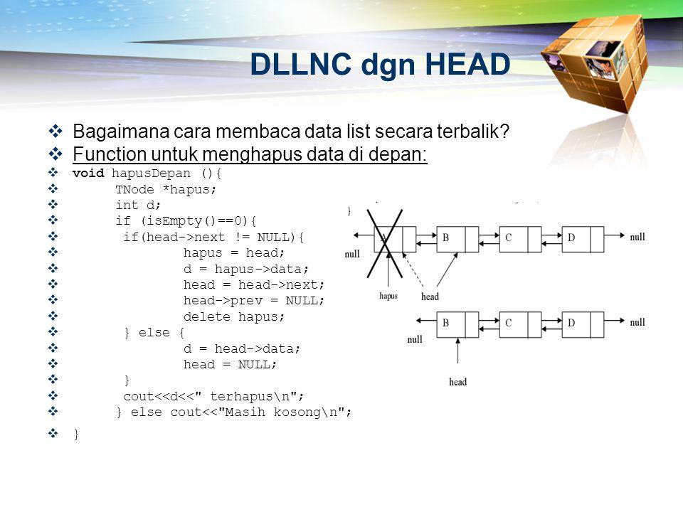 DLLNC dgn HEAD Bagaimana cara membaca data list secara terbalik