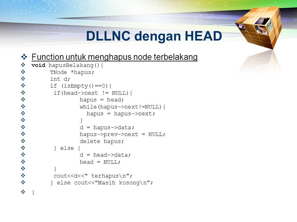 DLLNC dengan HEAD Function untuk menghapus node terbelakang