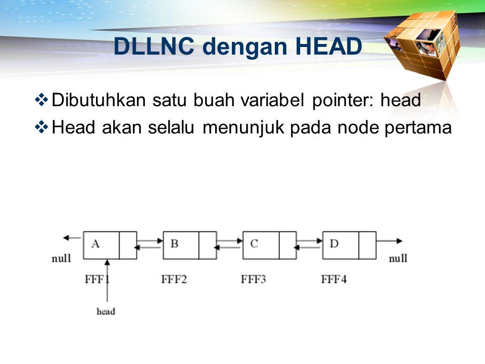 DLLNC dengan HEAD Dibutuhkan satu buah variabel pointer: head