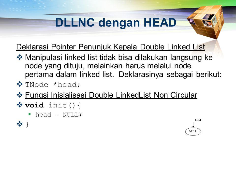 DLLNC dengan HEAD Deklarasi Pointer Penunjuk Kepala Double Linked List