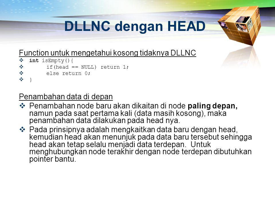 DLLNC dengan HEAD Function untuk mengetahui kosong tidaknya DLLNC