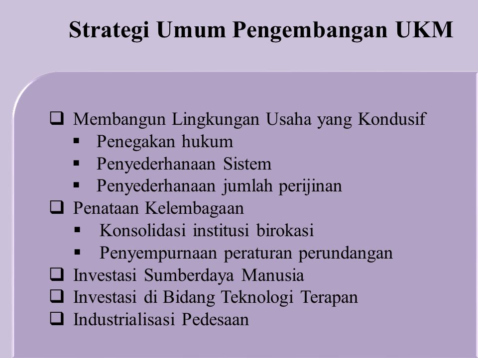 Strategi Umum Pengembangan UKM