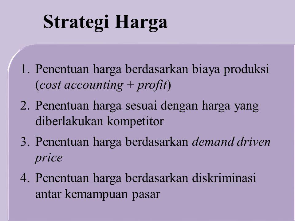 Strategi Harga Penentuan harga berdasarkan biaya produksi (cost accounting + profit)