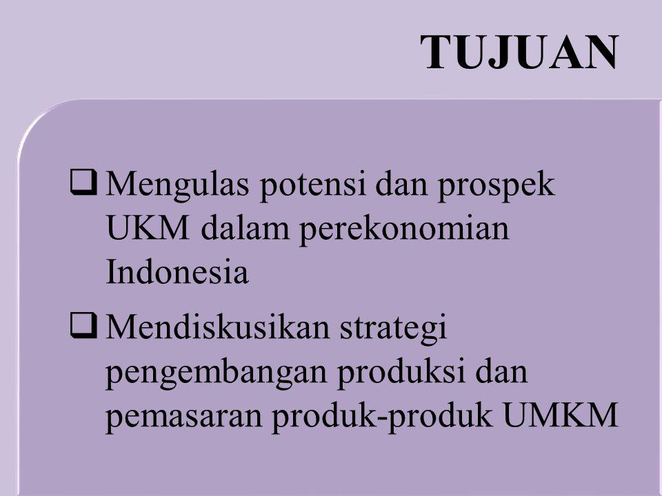 TUJUAN Mengulas potensi dan prospek UKM dalam perekonomian Indonesia