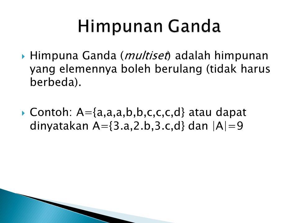 Himpunan Ganda Himpuna Ganda (multiset) adalah himpunan yang elemennya boleh berulang (tidak harus berbeda).