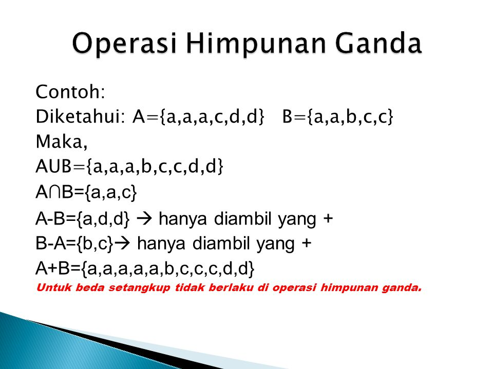 Operasi Himpunan Ganda