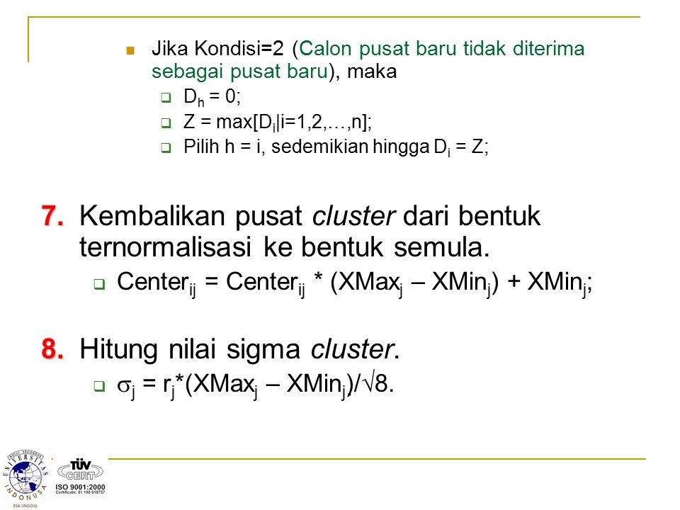 8. Hitung nilai sigma cluster.