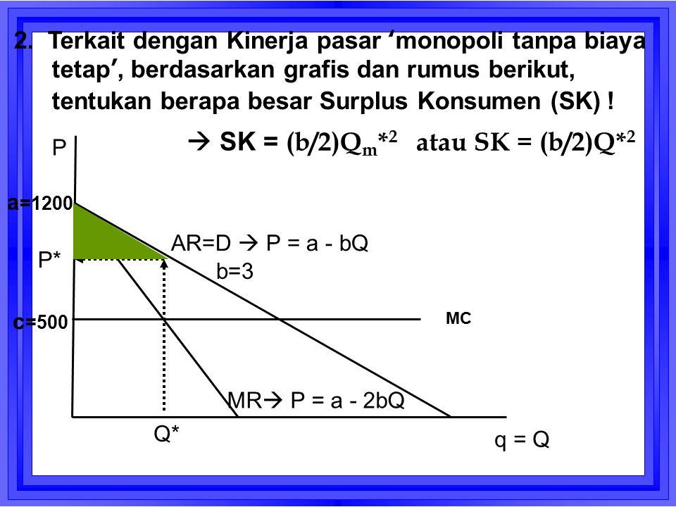  SK = (b/2)Qm*2 atau SK = (b/2)Q*2