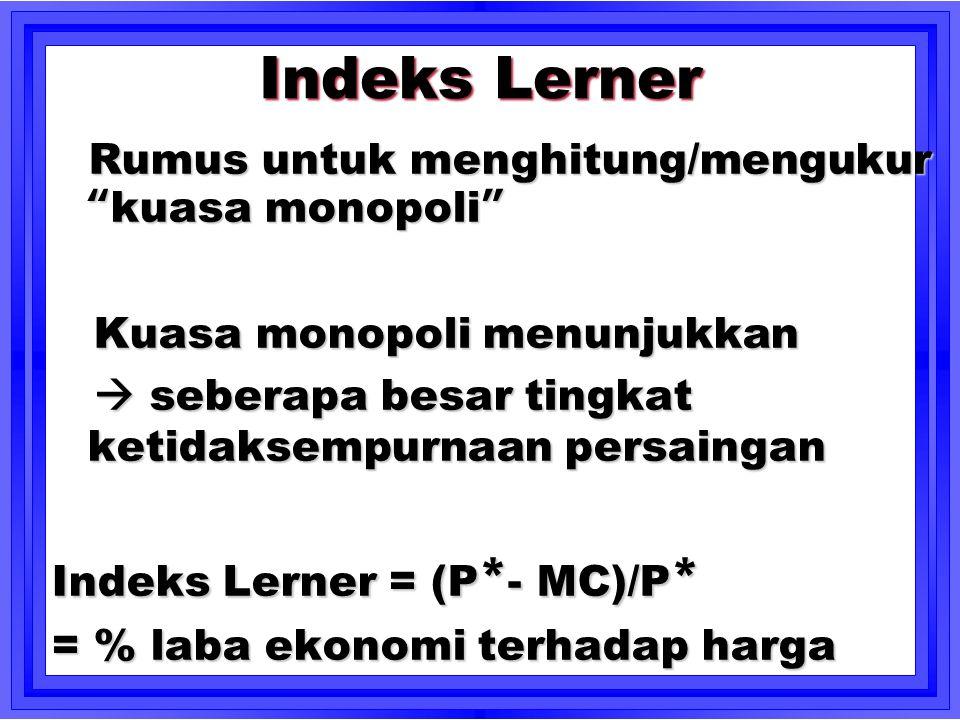 Indeks Lerner Kuasa monopoli menunjukkan