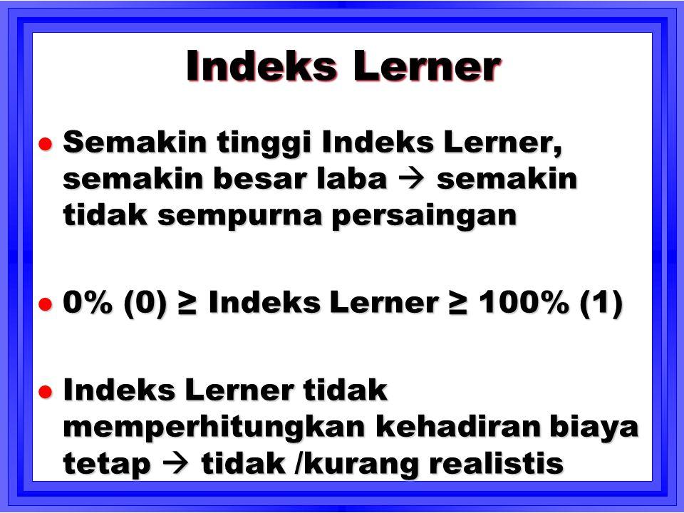 Indeks Lerner Semakin tinggi Indeks Lerner, semakin besar laba  semakin tidak sempurna persaingan.
