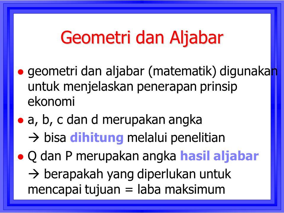 Geometri dan Aljabar geometri dan aljabar (matematik) digunakan untuk menjelaskan penerapan prinsip ekonomi.