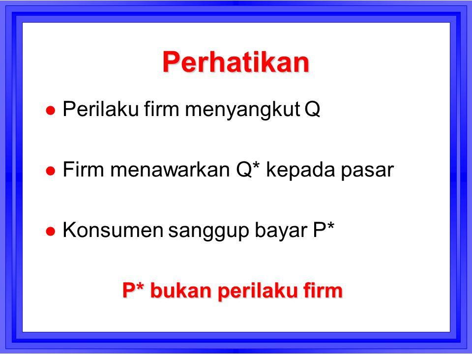 Perhatikan Perilaku firm menyangkut Q Firm menawarkan Q* kepada pasar