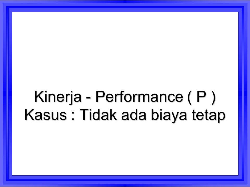 Kinerja - Performance ( P ) Kasus : Tidak ada biaya tetap