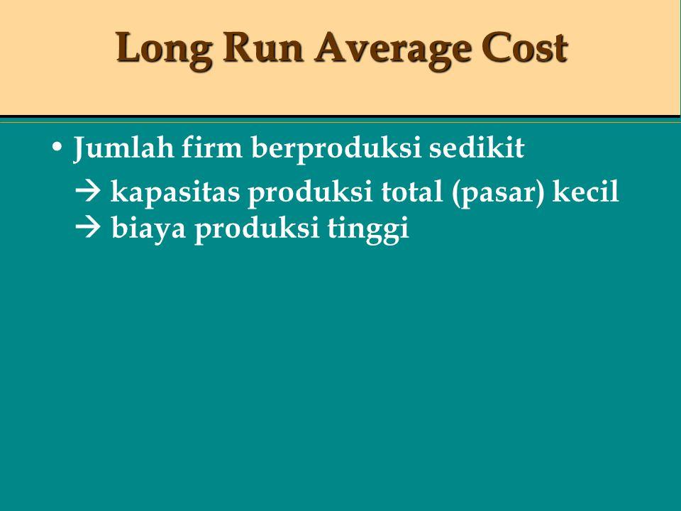 Long Run Average Cost Jumlah firm berproduksi sedikit