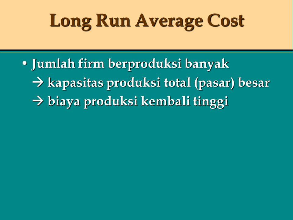 Long Run Average Cost Jumlah firm berproduksi banyak