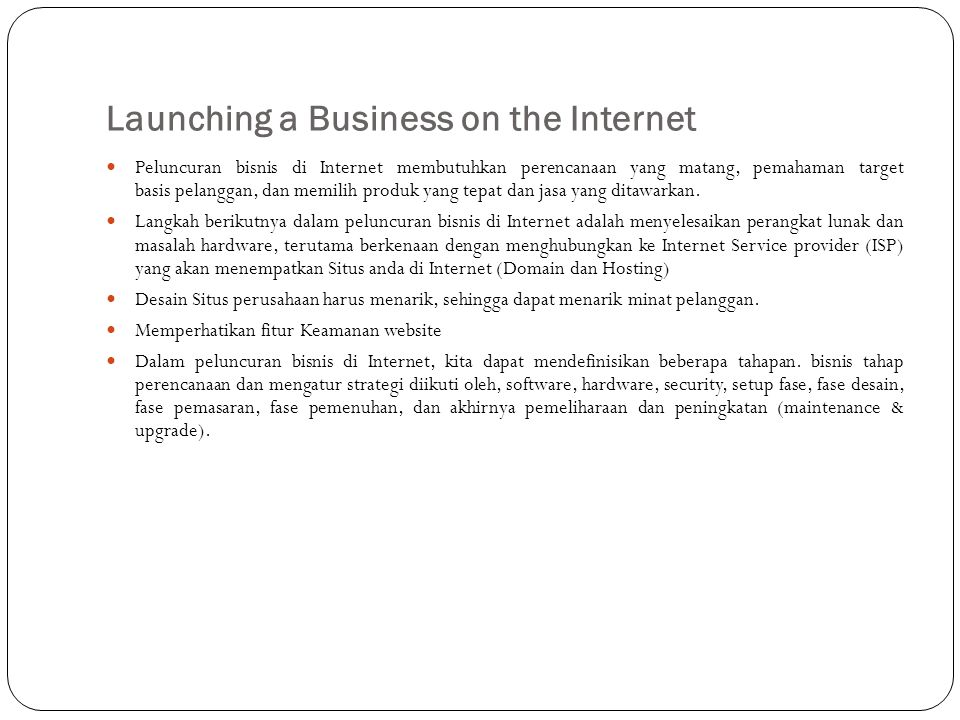 Launching a Business on the Internet