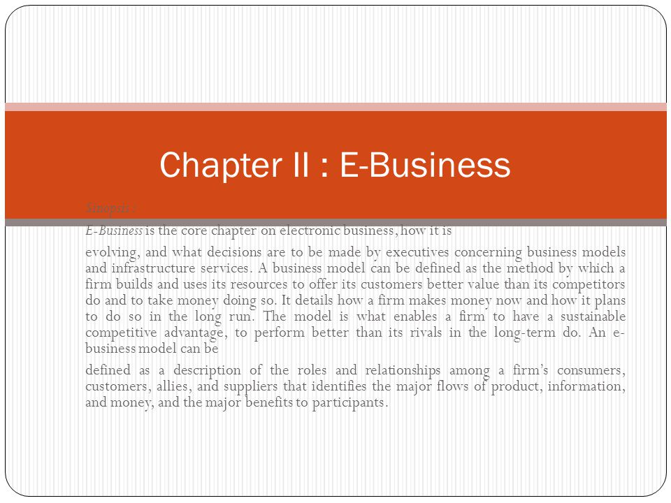 Chapter II : E-Business
