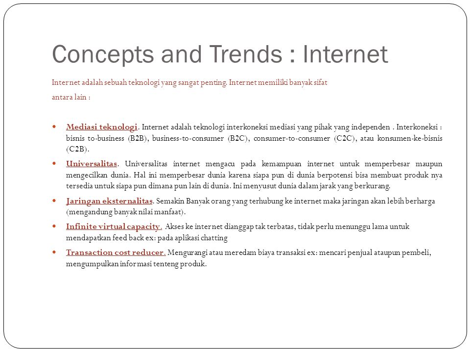 Concepts and Trends : Internet