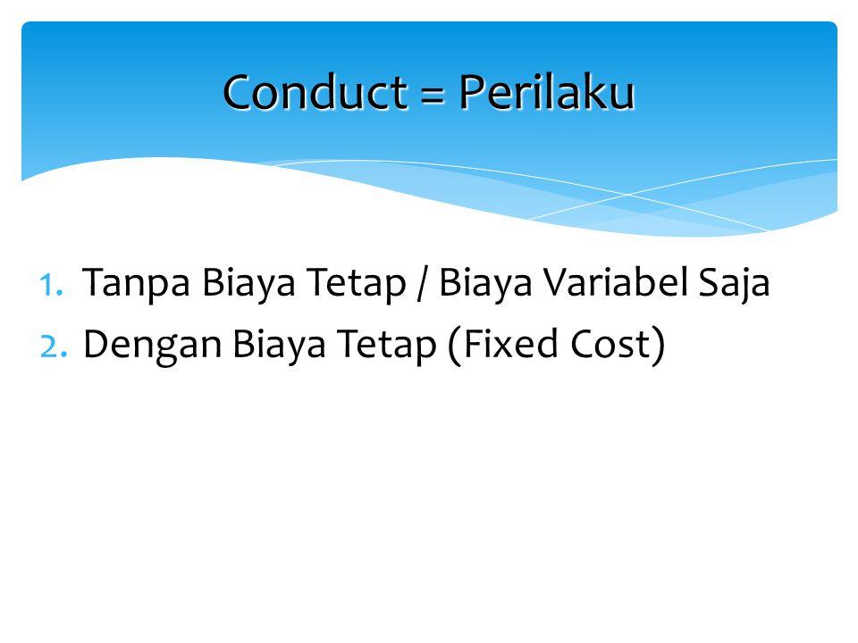 Conduct = Perilaku Tanpa Biaya Tetap / Biaya Variabel Saja