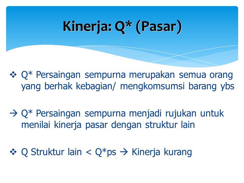 Kinerja: Q* (Pasar) Q* Persaingan sempurna merupakan semua orang yang berhak kebagian/ mengkomsumsi barang ybs.