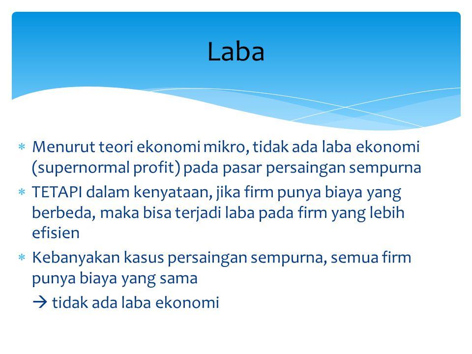 Laba Menurut teori ekonomi mikro, tidak ada laba ekonomi (supernormal profit) pada pasar persaingan sempurna.