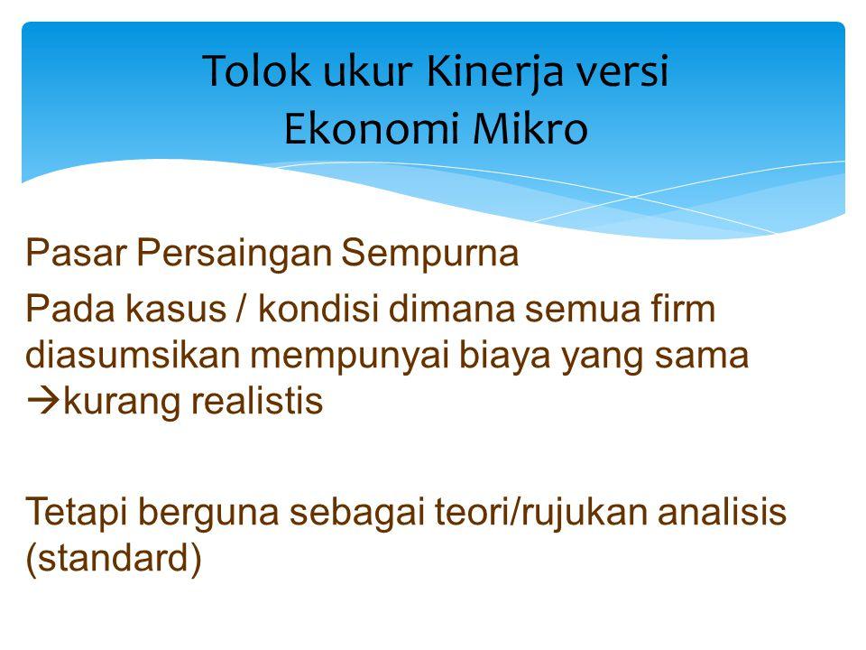 Tolok ukur Kinerja versi Ekonomi Mikro