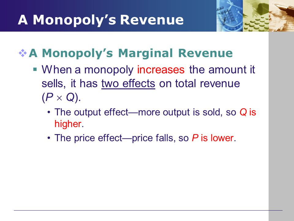 A Monopoly's Revenue A Monopoly's Marginal Revenue
