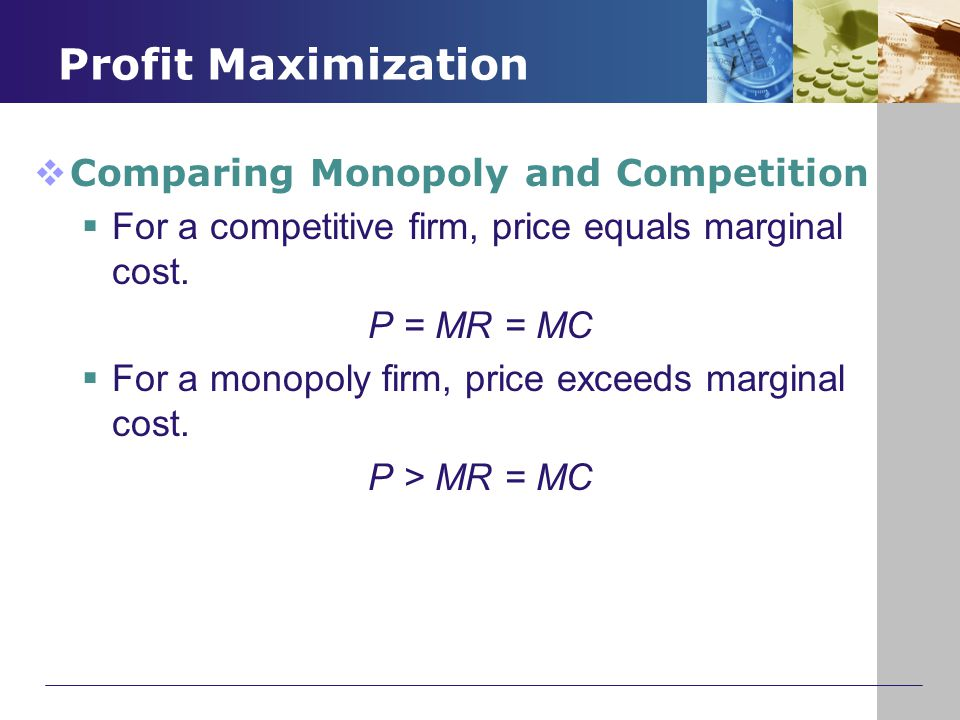 Profit Maximization Comparing Monopoly and Competition