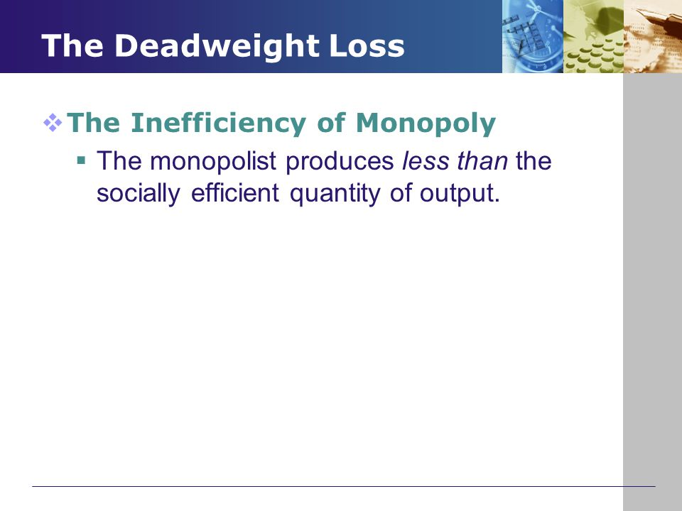 The Deadweight Loss The Inefficiency of Monopoly