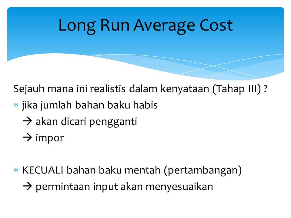 Long Run Average Cost Sejauh mana ini realistis dalam kenyataan (Tahap III) jika jumlah bahan baku habis.