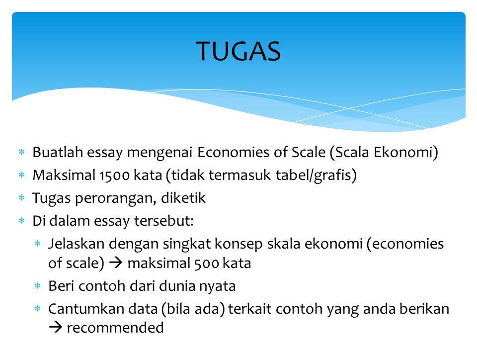TUGAS Buatlah essay mengenai Economies of Scale (Scala Ekonomi)