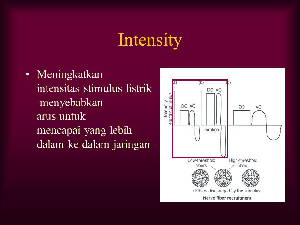 Intensity Meningkatkan intensitas stimulus listrik menyebabkan arus untuk mencapai yang lebih dalam ke dalam jaringan.