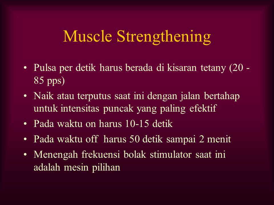 Muscle Strengthening Pulsa per detik harus berada di kisaran tetany (20 -85 pps)