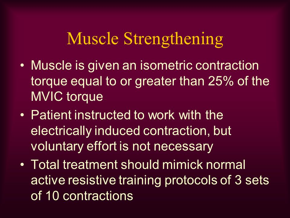 Muscle Strengthening Muscle is given an isometric contraction torque equal to or greater than 25% of the MVIC torque.