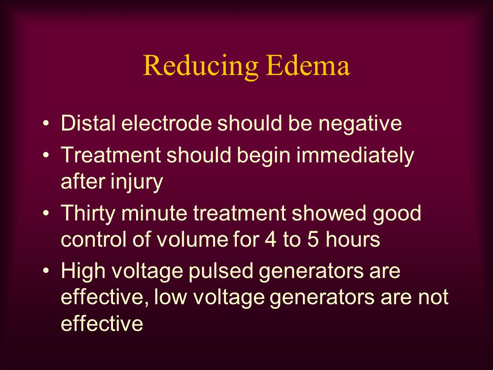 Reducing Edema Distal electrode should be negative