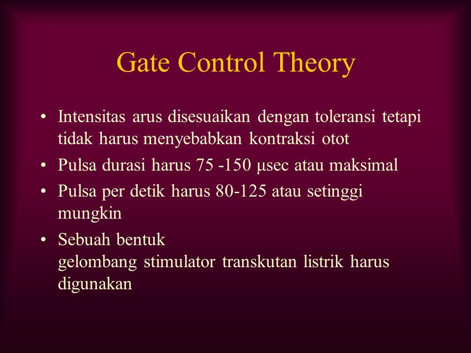 Gate Control Theory Intensitas arus disesuaikan dengan toleransi tetapi tidak harus menyebabkan kontraksi otot.