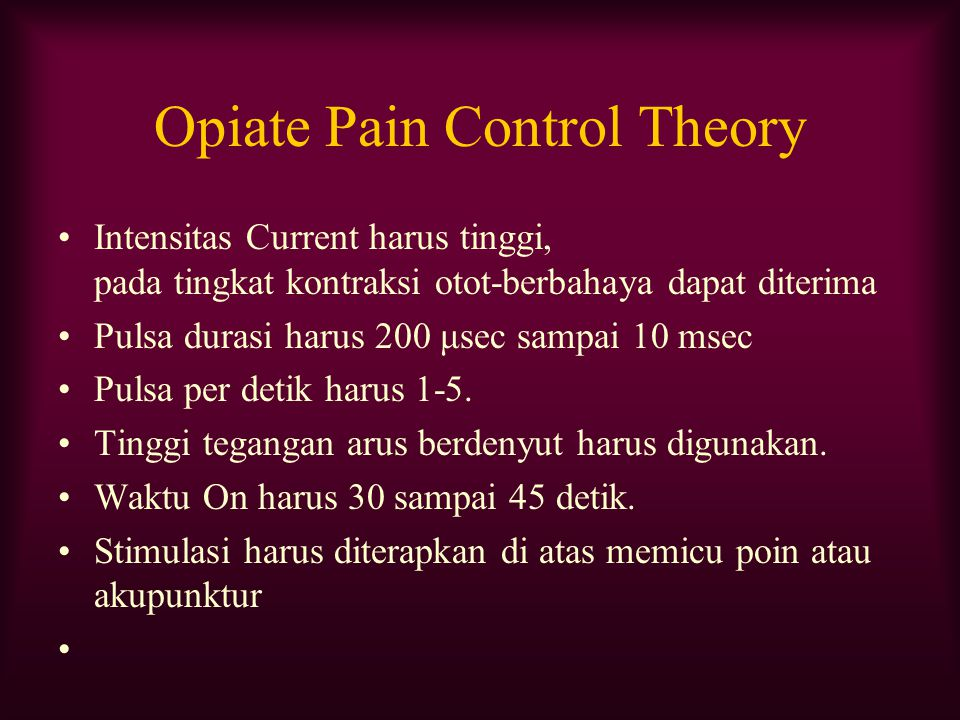Opiate Pain Control Theory