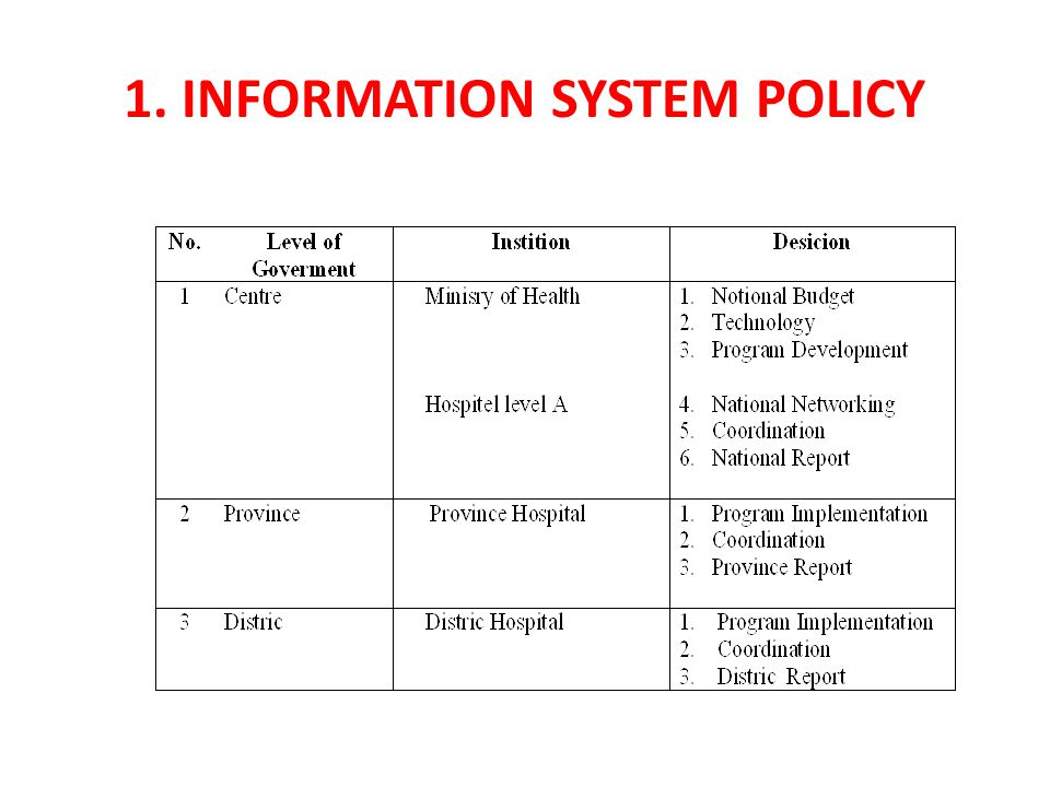 1. Information System Policy