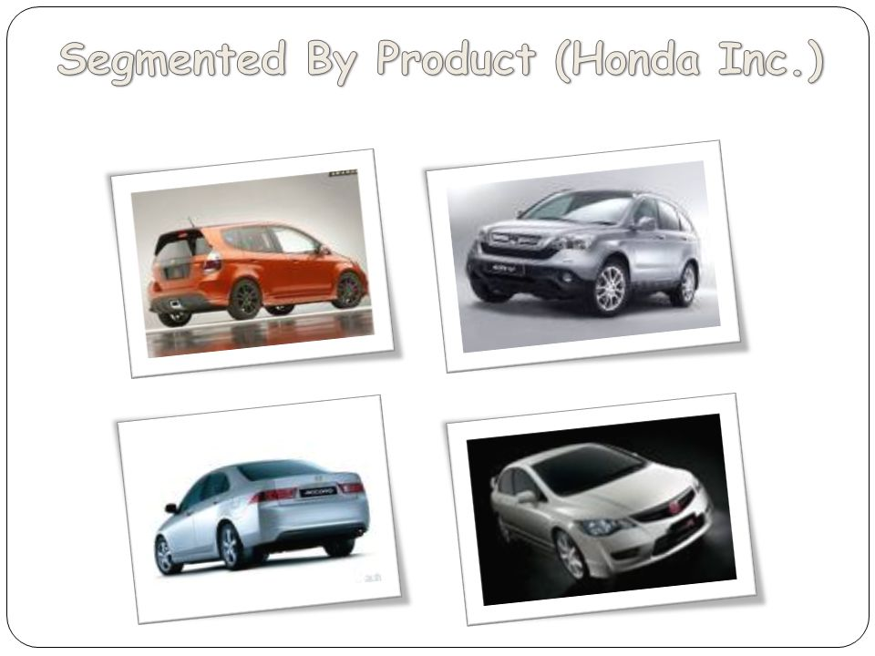 Segmented By Product (Honda Inc.)
