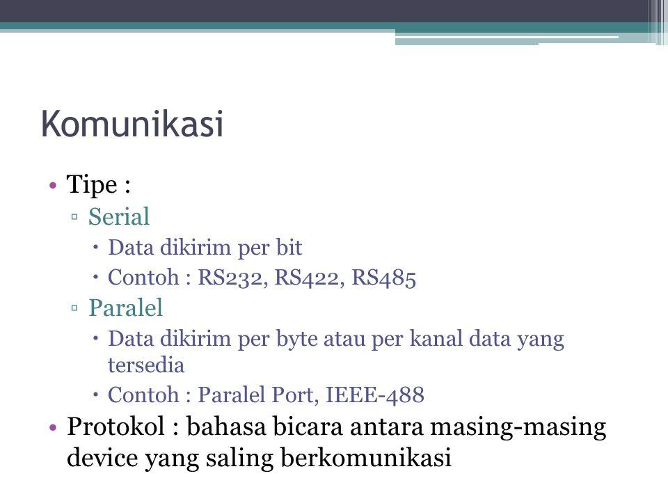 Komunikasi Tipe : Serial. Data dikirim per bit. Contoh : RS232, RS422, RS485. Paralel. Data dikirim per byte atau per kanal data yang tersedia.