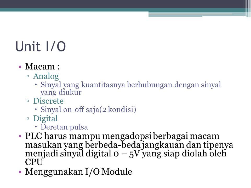 Unit I/O Macam : Analog. Sinyal yang kuantitasnya berhubungan dengan sinyal yang diukur. Discrete.