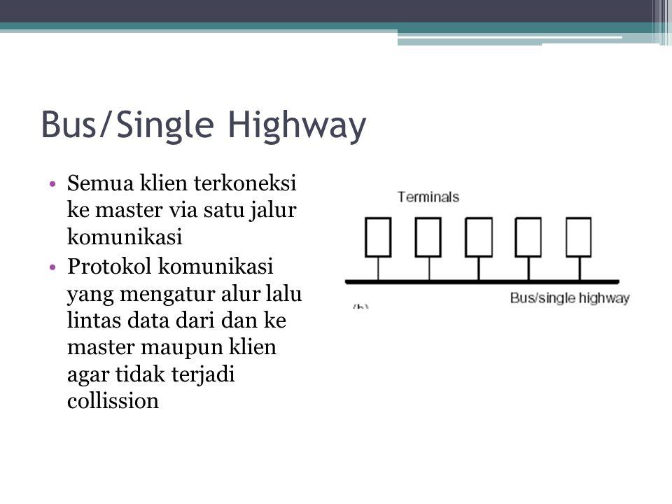 Bus/Single Highway Semua klien terkoneksi ke master via satu jalur komunikasi.