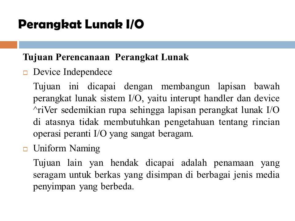 Perangkat Lunak I/O Tujuan Perencanaan Perangkat Lunak