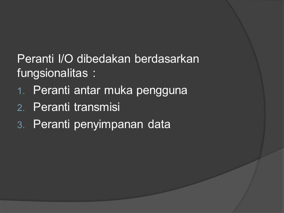 Peranti I/O dibedakan berdasarkan fungsionalitas :