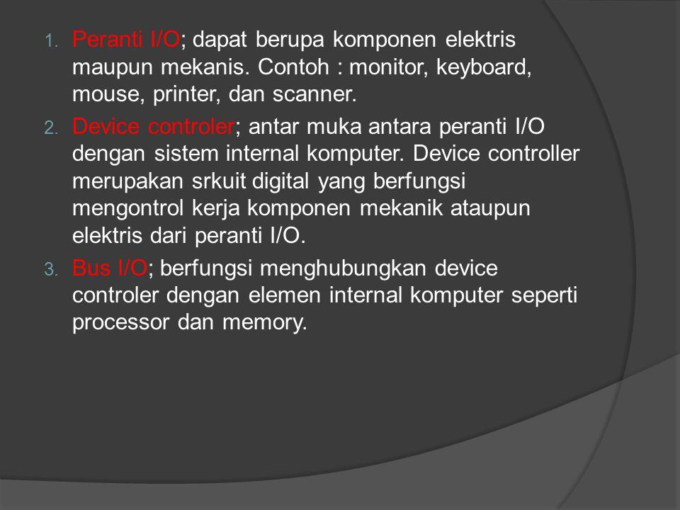 Peranti I/O; dapat berupa komponen elektris maupun mekanis